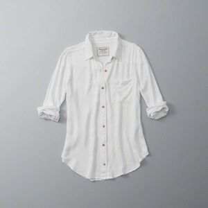 Abercrombie & Fitch White Oxford Shirt Large